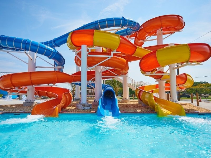 water slide at a water park